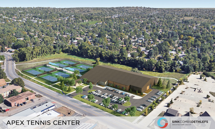 A rendering of what the new tennis court center will look like.