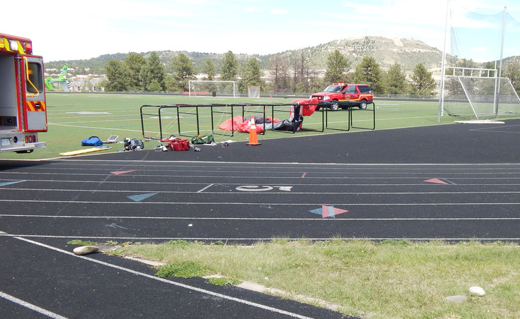 Castle Rock Fire and Rescue responds to the scene of a paragliding accident the afternoon of May 17. Photo courtesy of the Town of Castle Rock