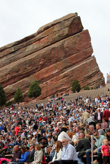 Crowds for the 9 a.m. Castle View High School graduation ceremony gathered early at Red Rocks Amphitheater on May 17. Photo by Jessica Gibbs