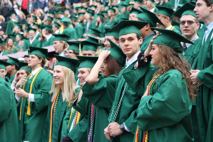 Mountain Vista High School graduates fill the front rows of Red Rocks Amphitheatre on May 17 for the 2017 commencement ceremony.