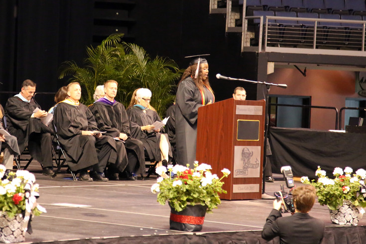 Brianna Makumbi delivered the Senior Class Poem at the graduation ceremony.