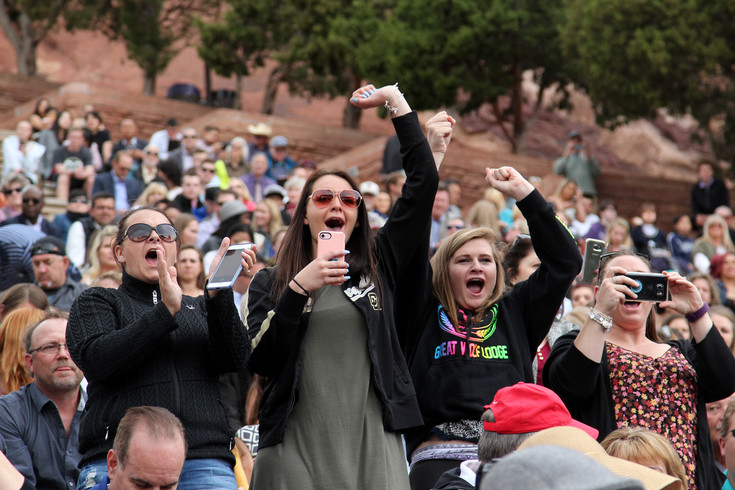 Families cheer for Highlansds Ranch High School seniors as they receive their diplomas on May 17 at Red Rocks Amphitheater.