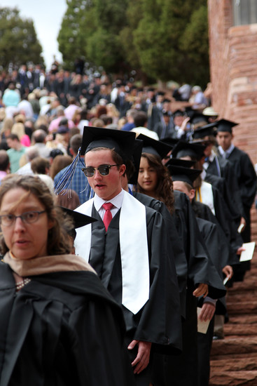Seniors enter the Red Rocks Amphitheater ahead of their 2017 Highlands Ranch High School graduation ceremony on May 17.