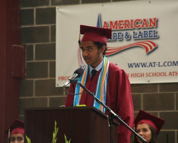 Shamik Bhat delivers his valedictorian address at Golden High School's 2017 graduation ceremony on May 19.