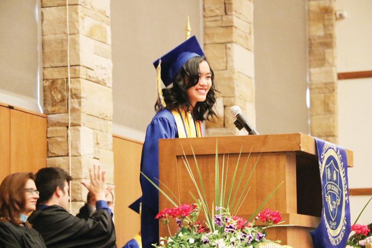 "Salutatorian Simone Ong wishes seniors farewell at Stem School and Academy's 2017 commencement ceremony on May 17 at the University of Colorado South Denver. ""We are finally free of the shackles of high school,"" Ong joked. ""Let's give ourselves a round of applause."""
