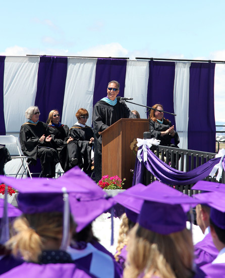 Principal Anthony Kappas addresses students at the May 20 graduation ceremony.