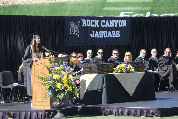 Rock Canyon Valedictorian Neha Chauhan addresses the class of 2017 during graduation May 20.