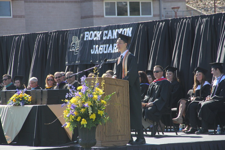 Rock Canyon Graduate Aaron Makikalli speaks to the class of 2017 about friendship during graduation May 20.