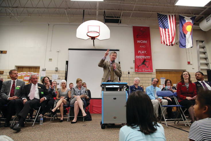 Governer John Hickenlooper tells students at Foster Elementary in Arvada his keys to success.