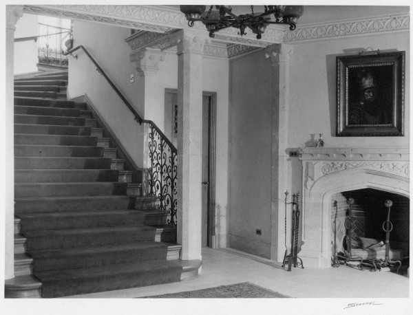 An undated vintage photo of the foyer of the Mansion. The grand staircase looks simliar today.