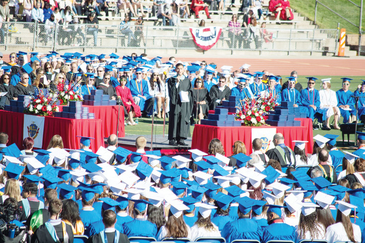Ryan Sylva, Cherry Creek High School Principal, inroduces the class of 2017 during the Cherry Creek High School graduation at the Stutler Bowl Stadium on May 24.