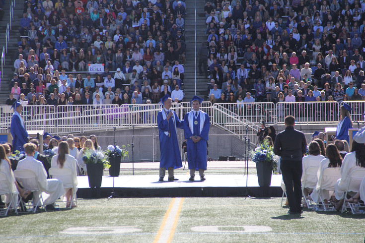 Legend High School Senior Class Co-Preisdent Scott Johnson introduces Drew Hombach May 26 during their graduation ceremony.