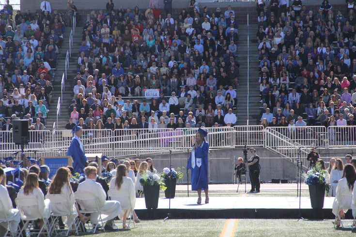 Legend Student Body Co-President Kaitlin Ochs speaks to the graduating class of 2017.