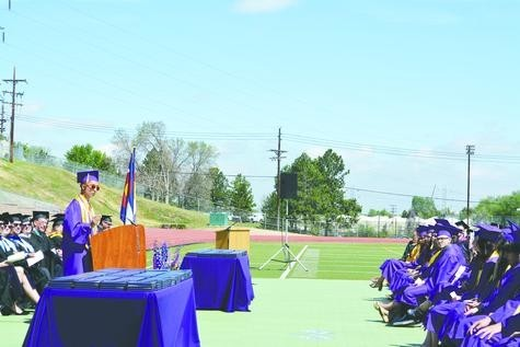 Littleton High School Co-valedictorian Andrew Chan addresses his fellow graduates at graduation on May 26.
