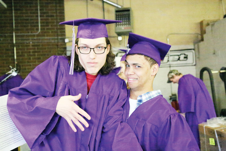 Tyler Isom and Nathanial Sayer pose for the camera before the Long View High School graduation May 27.