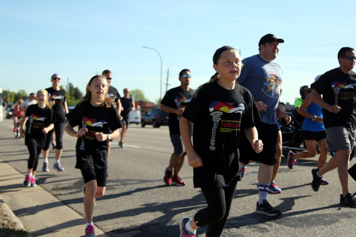 Elizabeth Gerber started the run in Arvada with her family.