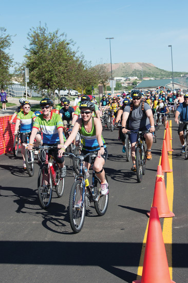 Riders in the 30th annual Subaru Elephant Rock Cycling Festival head out on Sunday morning for one of the courses.  The cycling event was held in Castle Rock over the June 3-4 weekend and was based at the Douglas County Fairgrounds.
