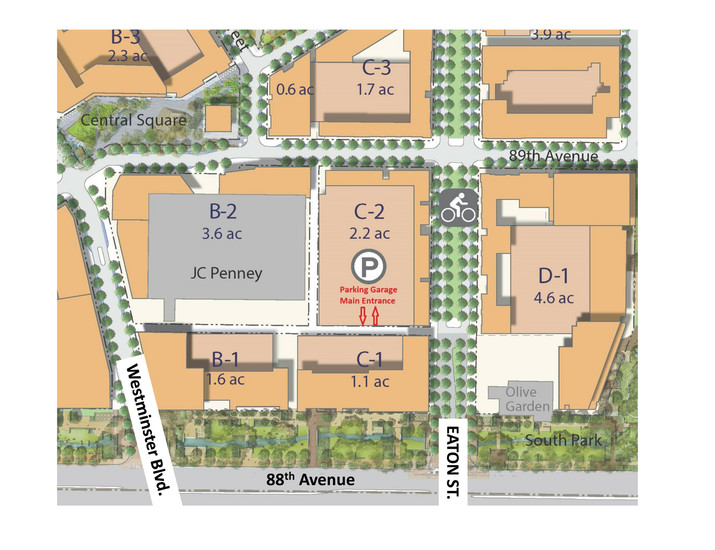 The proposed layout of Westminster Downtown, north of 88th Avenue, which includes the city's new parking garage. The garage is due to open June 7.