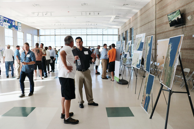 Dozens of people gather at ThunderRidge High School on May 30 to learn about the future of Chatfield Reservoir and the surrounding state park.