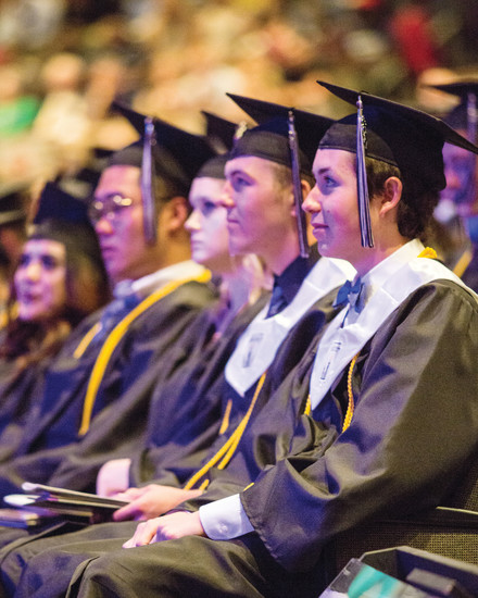 Lutheran High School graduates look to the future during their commencement ceremony at Southeast Christian Church in Parker on May 26. Valedictorians and Principal David Ness spoke about how the students' faith and service to others will serve them as they move into adulthood.