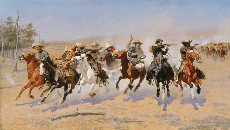 "Frederick Remington's large oil painting ""A Dash for the Timber"" (1889) has served as inspiration for more than one film director for a galloping-mounted-riders scene. It is exhibited in ""The Western: An Epic in Art and Film"" at the Denver Art Museum."