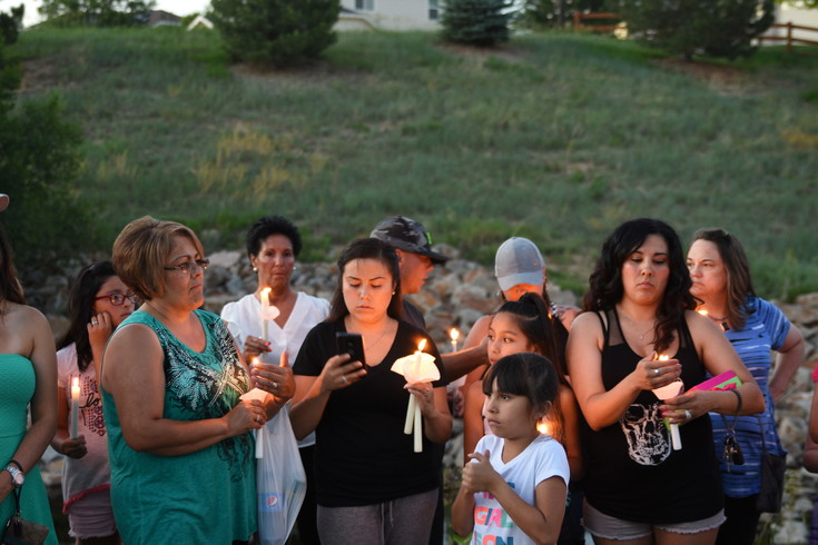 "rystal Salaz of Thornton, right, attends a candlelight vigil along with her nieces Brielle and Anjali Salaz, ages 8 and 11, for Kiaya Campbell, held Saturday June 10, near the spot where Campbell's body was found in northeast Thornton last Thursday evening. ""We're here to support the family anyway we can"", said Salaz, ""even though we didn't know this little angel. This is the least we can do, because it's so close to home and we brought my nieces out, so they could see what it is to help people who are grieving."""