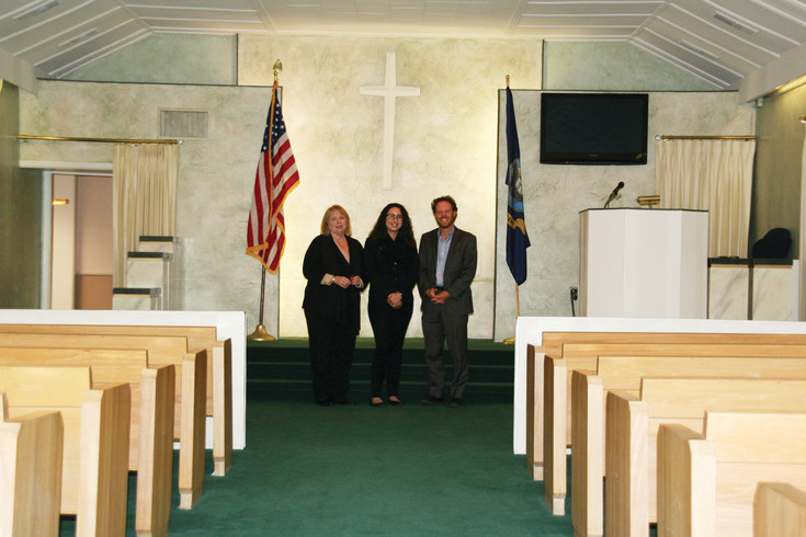 From left, Judy Jacobs, office manager; Melinda Acevedo, funeral director; and Damon Henry, Olinger Woods Chapel's general manager, stand in the Olinger Woods Chapel, which is located at 1100 Washington Ave. in historic downtown Golden. On June 30, the funeral home will merge its services with Olinger Crown Hill Mortuary & Cemetery, 7777 W. 29th Ave., in Wheat Ridge.
