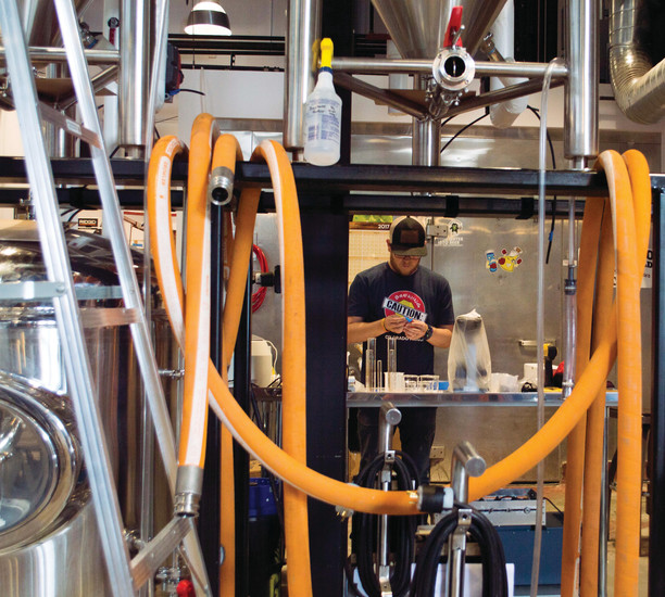 Steve Nolan tests beer samples at Grist Brewing Company's Lone Tree location.