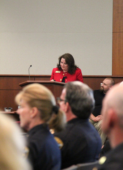 Undersheriff Holly Nicholson-Kluth and Sheriff Tony Spurlock sat front row as Commissioner Lora Thomas proposed shifting some of the county's tax dollars benefitting the justice center to roads and transportation.