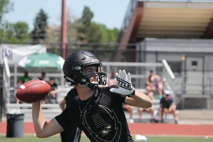 Mountain Vista quarterback Jacob Barnett prepares to launch a pass to a teammate during the June 15 Broncos 7-on-7 tournament game against Pine Creek. Barnett completed the pass but Pine Creek won the game 34-28. The Golden Eagles finished the day 1-2 in pool play but Coach Ric Cash praised the team for their competitiveness and effort.