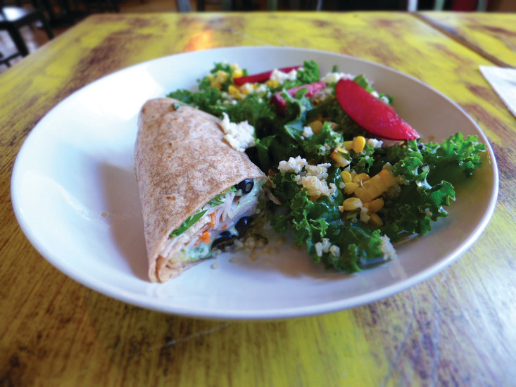 A turkey wrap and kale salad combo at GraceFull Cafe. All the restaurant's tips support a fund to cover the cost of meals for customers who can't afford to pay.