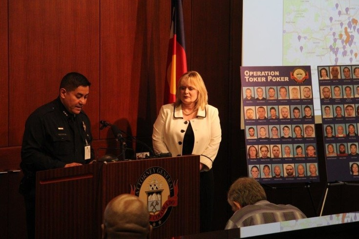 Denver Police Department Deputy Chief David Quiñones and Colorado Attorney General Cynthia Coffman brief media on June 28 about Operation Toker Poker, a more than three-year long investigation into an alleged marijuana trafficking ring that involved 62 individuals and 12 businesses in the state, officials said. Photo by Ellis Arnold