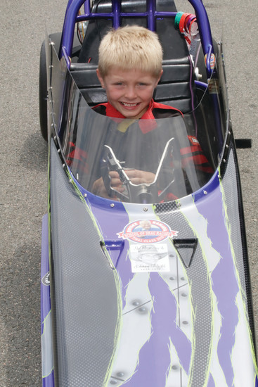 Ryider Olsen Jarman, 6, waits in the staging lanes for his turn to move to the starting line during the June 23-25 National Hot Rod Division 5 Junior Drag Racing event at Bandimere Speedway. The Littleton boy finished in second place in his age division in two of the three races he competed in during the weekend of junior dragster racing.
