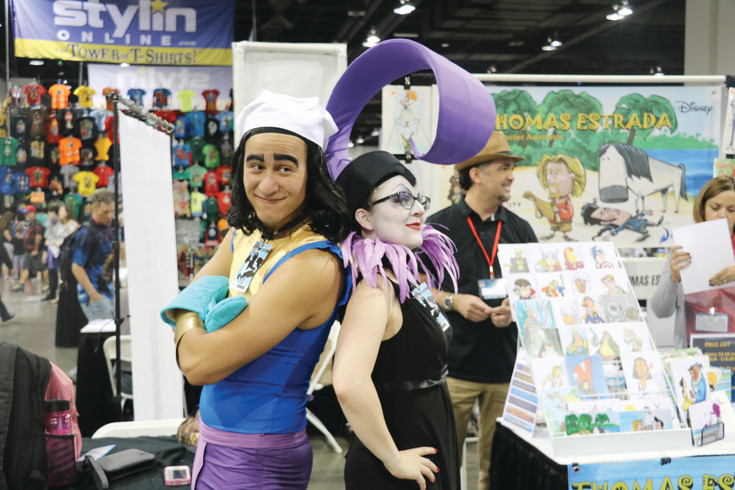 "Kira Kelbe and David Yang from Fort Collins dress as Yzma and Kronk from Disney's ""The Emperor's New Groove,"" at Denver Comic Con on July 30."