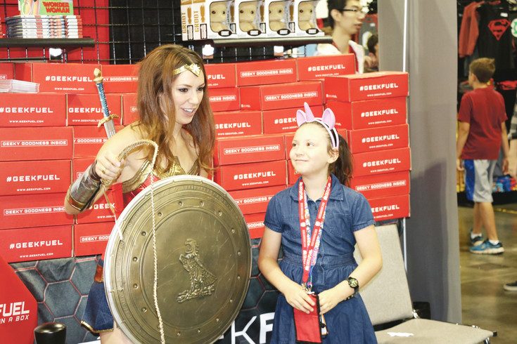 Chloe Veasman, of Thornton, gets to meet Wonder Woman at Denver Comic Con on July 1.