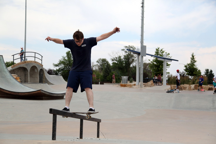 J.D. Turner skates at the Arvada Skate Park while visiting from Pennsylvania. He said he was impressed with the quality of the park and hopes to build one in his hometown.