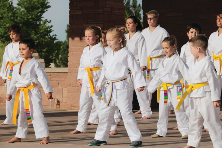 About 250 youths meet on June 29 at Civic Green Park to test for belts in martial arts. The kids are enrolled in ATA Karate Denver, a martial arts school with locations in Highlands Ranch and Lone Tree.