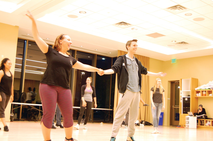 Jessica Hall, who plays Tracy Turnblad, and Laurence Katz, the production's Link Larkin, rehearse for one of the show's big dance numbers.