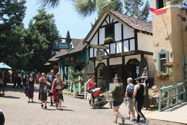 The Colorado Renaissance Festival is located in Larkspur, where permanent structures create the festival village that draws crowds each weekend during its summer run.