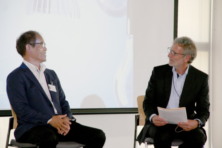Shuji Nakamura, inventor of the blue LEDs, left, and Dr. Martin Keller, director of the National Renewable Energy Laboratory (NREL), hold a fireside chat on July 5 for NREL's 40th anniversary.