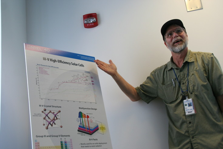 Brent Nelson, a group manager at the National Renewable Energy Laboratory, (NREL) talks about solar cells on July 5 during a tour of the lab's Science and Technology Facility.