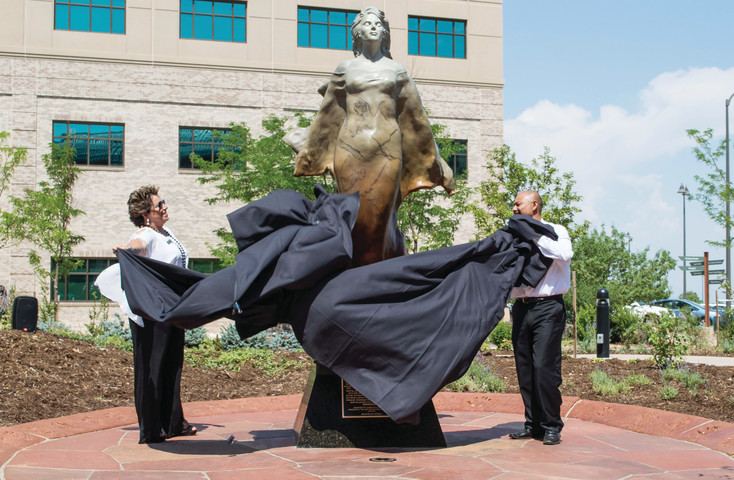 Transcendence, a sculpture by Scy Caroselli, was unveiled in the healing garden of Sky Ridge Medical Center on July 7.