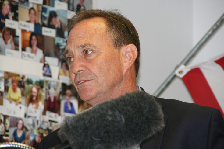 U.S. Rep. Ed Perlmutter (D) answers questions from various media outlets about his decision to drop out of the Colorado governor's race during a press conference on July 11 in Perlmutter's office in the Applewood Tech Center.