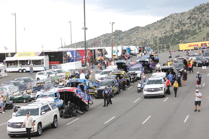 Top fuel funny car teams line up in the staging lanes as they prepare to make timing runs at last year's Mile High National Drag Races at Bandimere Speedway. Most of the teams return to the Morrison speedway July 21-23 to compete in this year's Mile High Nationals.