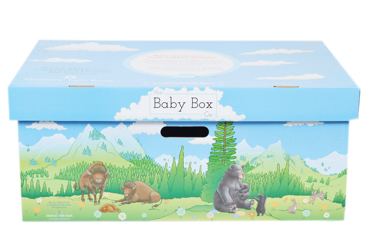 The Colorado Baby Box is decorated with landscapes and animals native to the state.