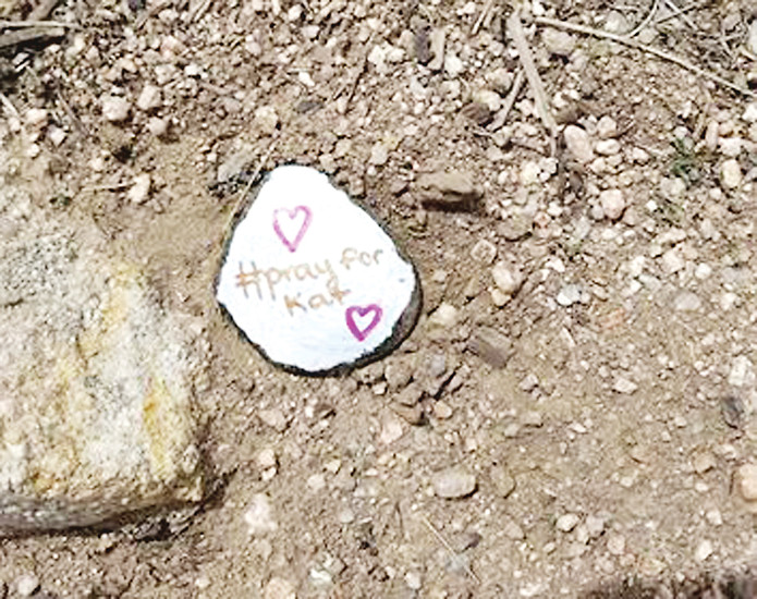 "A rock with the words ""Pray for Kat"" painted on it. A person at Daniels Park in Sedalia in late April found the rock, which was left there by a friend of Katerina Graham, who died May 7 after a suicide attempt. After the person who found it posted a photo of it on social media, Graham's mother saw it and was inspired to have more rocks painted in Graham's memory. COURTESY PHOTO"