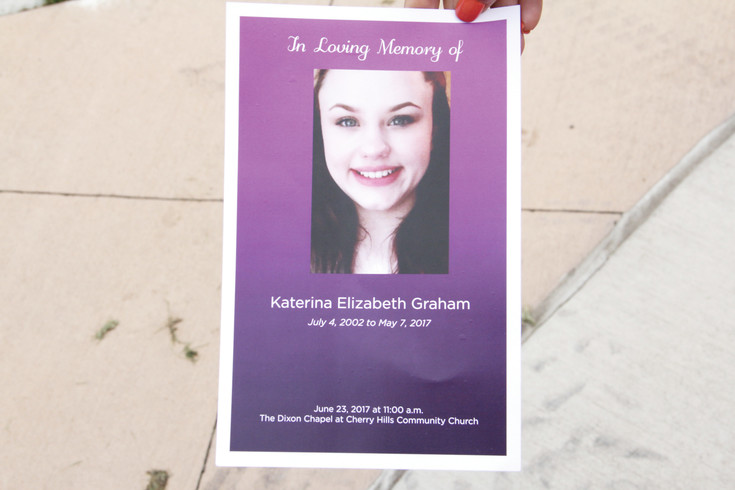 A handout from the June 23 memorial service for Katerina Graham. Her godmother, Kristen Garcia, brought it to Duncan Park in Englewood July 12, where she and her two sons placed rocks they painted in memory of Graham.