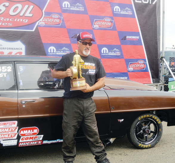 Troy Grant of Golden drove his 1966 Chevy II to victory in the Super Street class on July 23 at the Mopar Mile High Nationals at Bandimere Speedway. Grant had a quick reaction time and turned in a 11.533 elapsed time at 124.60 miles per hour in the finals. He beat John Blanco of Golden whose turned in a 11.499 ET at 140.07 miles per hour in his 1955 Chevy but had a slow start.