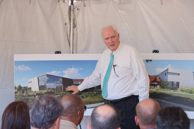 Harold Smethills, founder of Sterling Ranch, refers to a rendering of the development's first commercial building, a civic center. Smethills and other key players in the development presented at a July 21 groundbreaking ceremony held at the construction site, south of Titan Road and east of Santa Fe Road.