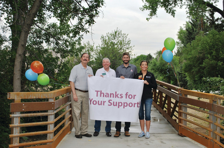 On June 30, South Suburban and project partners celebrated the completion of the High Line Canal Bridge Replacement Project and the brand new Franklin Street Bridge. Littleton Mayor Bruce Beckman; South Suburban Board Chair John Ostermiller; Josh Tenneson, Arapahoe County Open Spaces; and Centennial Mayor Pro Tem Stephanie Piko join in the celebration.